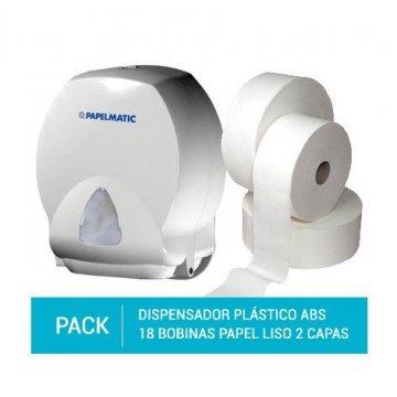 Dispensador Papel Higiénico Plástico ABS + Pack 18 Bobinas Papel Higiénico 100% Pasta