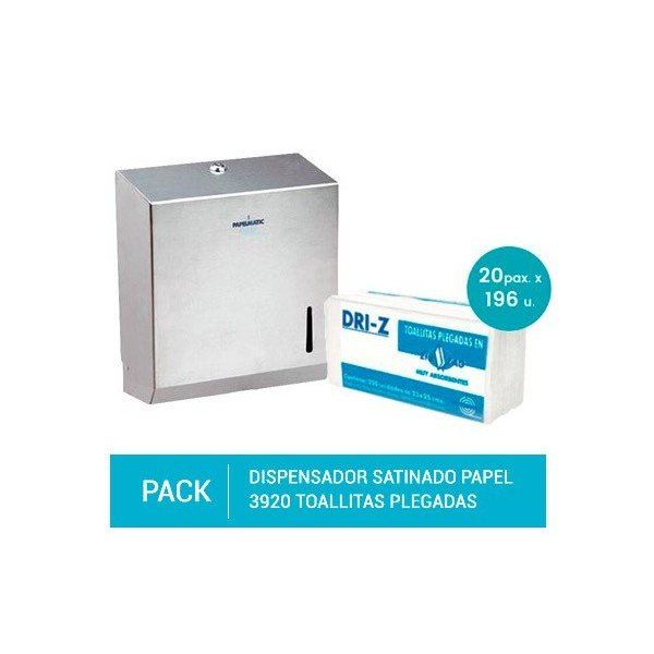 Dispensador Satinado Papel Toallas Plegadas + Pack 3920 Toallitas Plegadas Celulosa 100% Pasta