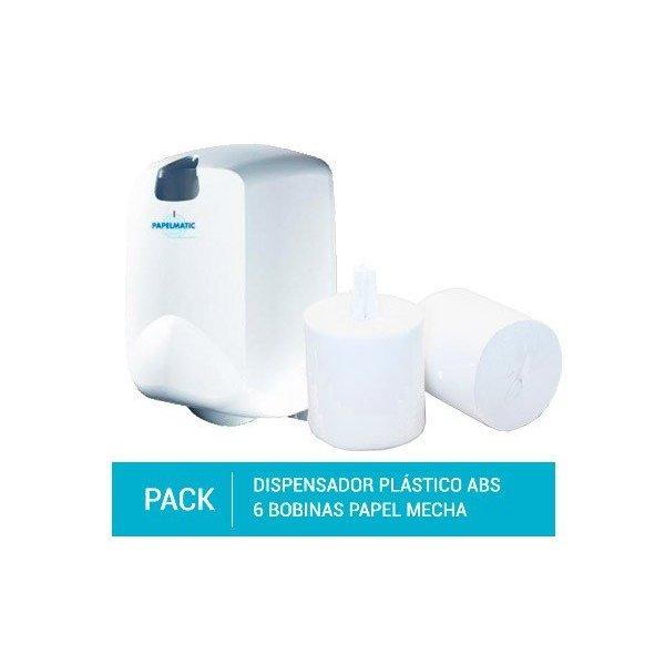 Dispensador Papel Mecha Plástico ABS + Pack 6 Bobinas Secamanos Papel Mecha