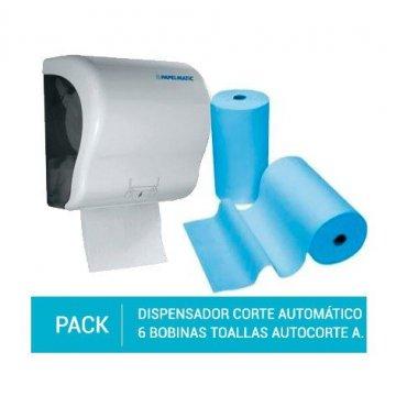 Dispensador Papel Corte Automático. + Pack 6 Bobinas Toallas Autocorte Papel Reciclado 120M Azul