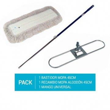 Pack de Bastidor Mopa 45cm + Recambio Mopa 45cm + Mango Aluminio 140cm