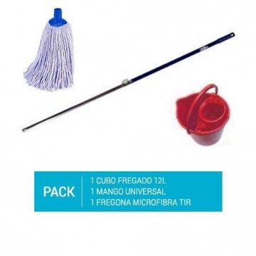 Pack de 1 cubo de fregona rojo de 12l, un mango de aluminio de 140cm y un recambio de fregona de microfibra de tiras