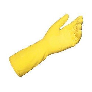 Pack 12 Guantes Látex Flocados Amarillos. Talla l.
