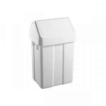 Papelera Plástico 12L Tapa Basculante. Color Blanco.