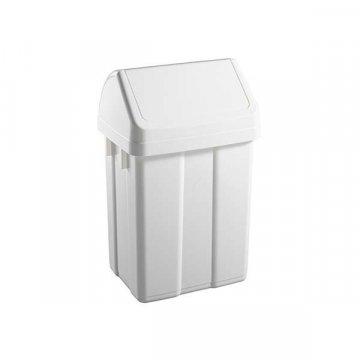 Papelera Plástico 25L Tapa Basculante. Color Blanco.